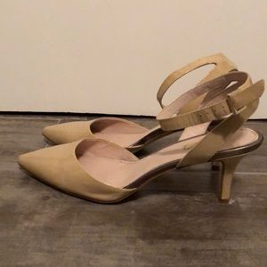 Nude patent low heel with ankle strap